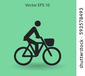 flat cyclist icon | Shutterstock .eps vector #593578493