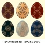 a set of colored easter eggs....   Shutterstock .eps vector #593581493