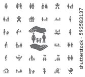 family and hands vector icon on ... | Shutterstock .eps vector #593583137
