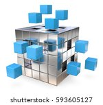 join. metal cube assembly with... | Shutterstock . vector #593605127