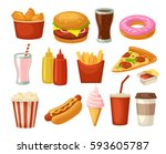 set fast food icon. cup cola ... | Shutterstock .eps vector #593605787