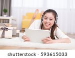 young pretty chinese woman... | Shutterstock . vector #593615033