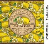 vintage lemon label on seamless ... | Shutterstock .eps vector #593616557