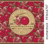 vintage pomegranate label on... | Shutterstock .eps vector #593616707