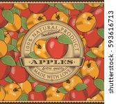 vintage red apple label on...   Shutterstock .eps vector #593616713