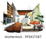 interior perspective sketch... | Shutterstock . vector #593617187