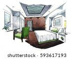 interior perspective sketch... | Shutterstock . vector #593617193