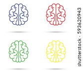 brain icons. red. blue. yellow. ... | Shutterstock .eps vector #593620943
