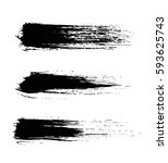 set of black paint  ink brush... | Shutterstock .eps vector #593625743