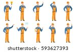 confused builder with spread... | Shutterstock .eps vector #593627393