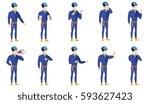confused caucasian mechanic... | Shutterstock .eps vector #593627423