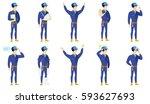 injured caucasian mechanic...   Shutterstock .eps vector #593627693