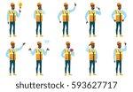 african american builder... | Shutterstock .eps vector #593627717