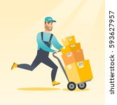 caucasian delivery postman with ... | Shutterstock .eps vector #593627957