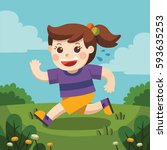 a cute girl running around the... | Shutterstock .eps vector #593635253