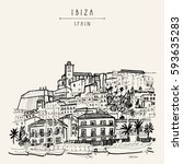 old city of ibiza town ... | Shutterstock .eps vector #593635283