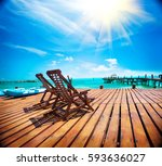 exotic beach  paradise. travel  ... | Shutterstock . vector #593636027