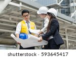 group of architects team... | Shutterstock . vector #593645417