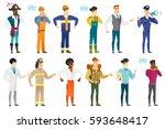 asian furious builder in hard... | Shutterstock .eps vector #593648417