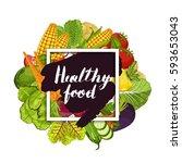 healthy farm food banner vector ... | Shutterstock .eps vector #593653043