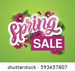 spring sale background with... | Shutterstock .eps vector #593657807