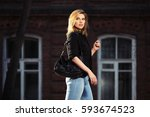 young blond business woman with ... | Shutterstock . vector #593674523