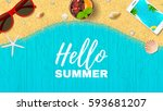 beautiful summer vacation web... | Shutterstock .eps vector #593681207