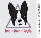 boston terrier french bulldog... | Shutterstock .eps vector #593683487