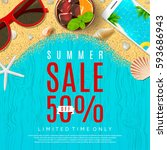 beautiful banner for summer sale | Shutterstock .eps vector #593686943