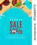 elegant poster for summer sale | Shutterstock .eps vector #593686973
