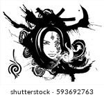 beautiful girl with a sly look | Shutterstock .eps vector #593692763