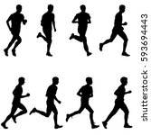 set of silhouettes runners on... | Shutterstock .eps vector #593694443