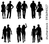 set couples man and woman... | Shutterstock .eps vector #593694527