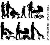 set black silhouettes family... | Shutterstock .eps vector #593694563