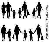 set silhouette of happy family... | Shutterstock .eps vector #593694953