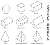 3d shape set isolated on white... | Shutterstock .eps vector #593696207