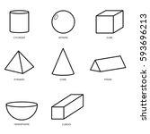 3d shape set isolated on white... | Shutterstock .eps vector #593696213