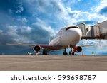 passenger wide body plane on... | Shutterstock . vector #593698787