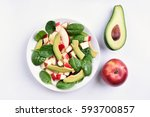 fresh mixed salad with red... | Shutterstock . vector #593700857