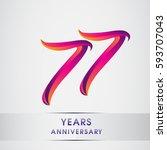 seventy seven years anniversary ... | Shutterstock .eps vector #593707043