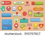 donate buttons vector set... | Shutterstock .eps vector #593707817