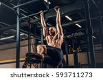 shirtless sporty male doing abs ... | Shutterstock . vector #593711273