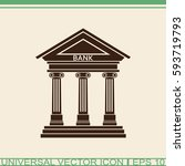bank icon with the building... | Shutterstock .eps vector #593719793