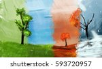 4 season tree in same place | Shutterstock . vector #593720957