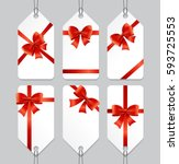sale or present bow silk labels ... | Shutterstock .eps vector #593725553