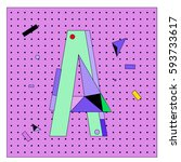 vector letter a memphis style... | Shutterstock .eps vector #593733617