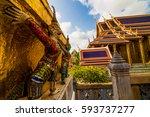 wat phra kaew temple grand...   Shutterstock . vector #593737277