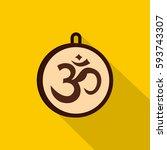 hindu om symbol icon. flat... | Shutterstock . vector #593743307