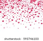 hearts confetti on white... | Shutterstock . vector #593746103