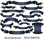 dark colored vector ribbons.... | Shutterstock .eps vector #593748953